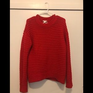Bright orange - wool knit cozy oversized sweater